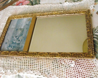 Gorgeous Hollywood Regency Mirror & Art - made in England and The Netherlands - Gold gilt wood frame
