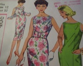 Vintage 1960's Simplicity 2991 Dress Sewing Pattern, Size 12, Bust 32