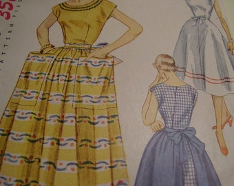 Vintage 1950's Simplicity 3883 Wrap-around Dress and Apron Sewing Pattern, Size 12, Bust 30