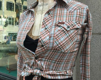 Vintage Western Urban Cowgirl Earth Tone Wrangler Snap Down-Pearl Button Cowboy shirt-TINY-Plaid 1970's-Texas-West-Cowgirl-XS-Boys Size 12