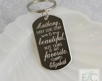 every love story is beautiful engraved stainless steel key chain | personalized dog tag keychain