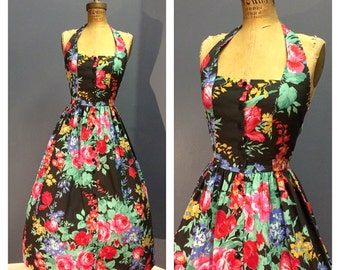 FLORAL GARDEN Vintage 1950's Style Jet Black Cotton Halter Sun Day Dress Sundress w Pink and Red Cabbage Roses & Flowers w Black Butons XS S