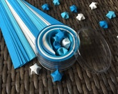 Blue and White Origami Stars Paper Strips Kraft Kit, 100 count