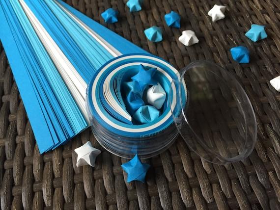 Blue and White Origami Stars Paper Strips Kraft Kit, 100 paper strips