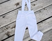 baby leggings, toddler leggings, hipster white cotton suspender leggings, baby boy blessing/christening leggings