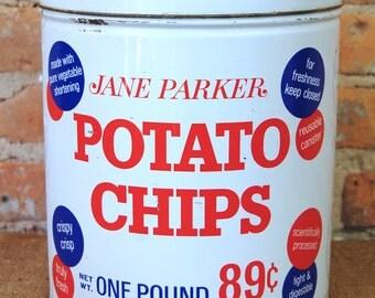 Vintage Jane Parker Potato Chip Storage Tin Can by A &P