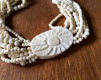 Vintage Celluloid Necklace, Celluloid Choker, Carved Celluloid, Plastic Necklace, Beaded Necklace, Celluloid Jewelry, Multi Strand, Ivory