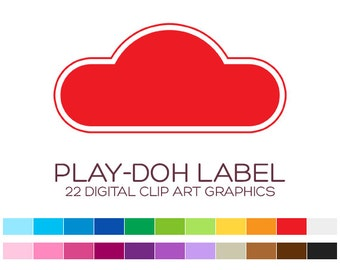Digital Frame Clipart Digital Frames and Borders Label Clipart Digital Labels For Jars Frames Vintage Play-Doh Label Play-Doh Party - A00179