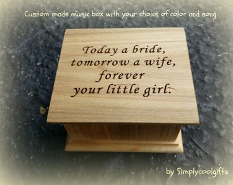 music box, wedding music box, gift for mom, mother of bride gift, today a bride tomorrow a wife forever your little girl, simplycoolgifts