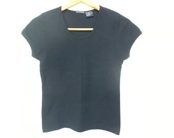 Vintage 90s Navy Blue Minimalist T Shirt Scoop Neck Cap Sleeve Top by Sargent Pepper Small Medium