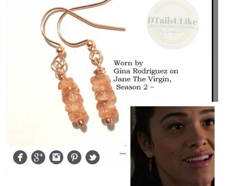 Dainty Sunstone Earrings in Rose Gold, As seen on TV ~ Jane the Virgin, Celebrity Jewelry