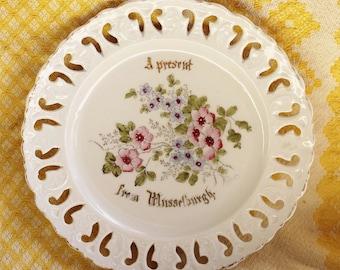 Vintage Lace Cut Out Porcelain Plate - Hand painted Flowers - Musselburgh Germany - Souvenir - Collectibles - Flowers