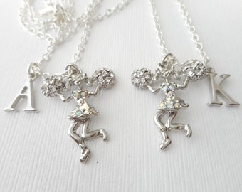 2 Cheerleader- Initial Best Friend Necklaces (Set)