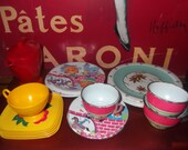 Vintage set of tin childs dishes plus some odds and ends