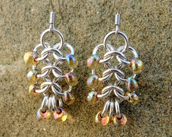 Chainmaille Ladder Earrings with Yellow Beads - euro 4-1 chainmaille