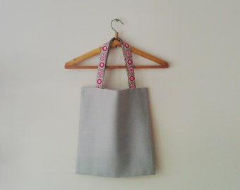 Linen Tote/Vintage Fabric Tote/Rustic Tote/Linen Grocery Bag/Grey Tote/Shopping Bag/Fabric Bag/Linen Shopping Bag/Market Bag/Handmade