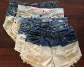 Bleach High Waisted Denim Shorts - Bleach Splatter, vintage distressed denim, xsmall - plus size