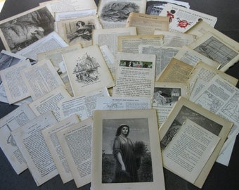 50 Vintage book pages- for art journals, collage, mixed media, junk journals, tags, smash books, and more