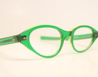 Green Unused Cat Eye Eyeglasses Vintage Eyewear Retro Glasses Cat Eye Frames