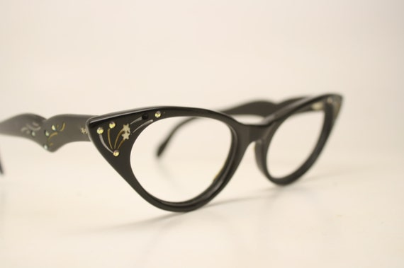 Eyeglass Frames Unique : Black Cat Vintage Eyeglasses Unique vintage Eyewear Retro