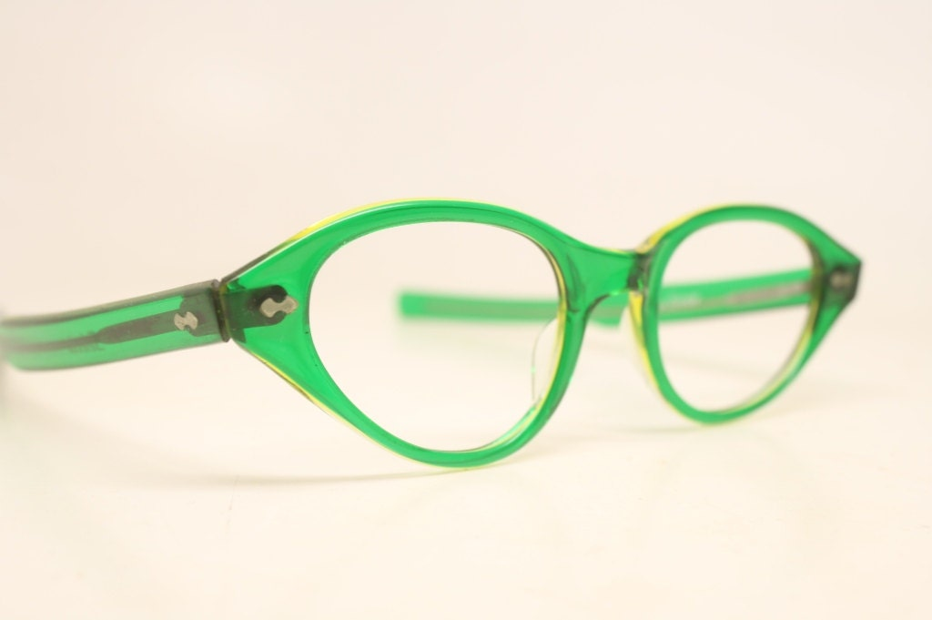 Eyeglass Frames Green : Green Unused Cat Eye Eyeglasses Vintage Eyewear Retro Glasses