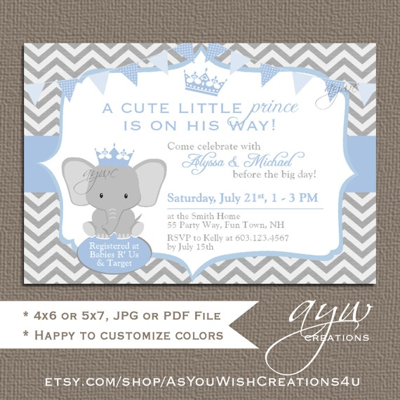 Elephant Baby Shower Invitation Girl Elephant Baby Shower Invitations  Printable Invitation Princess Elephant Baby Shower Girl Chevron Pink