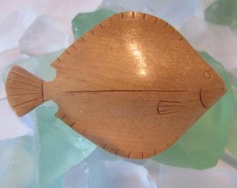Vintage Wood Fish Brooch German circa 1940 Handmade