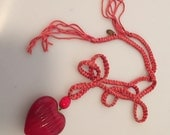 1980s Vintage LES BERNARD Blood Red Fluted HEART Pendant Necklace Braided Cord Hang Tag