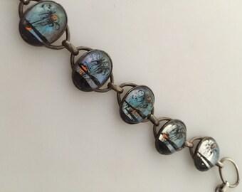 1920s Vintage Sterling BUTTERFLY WING Bracelet Sterling Silver Link Bracelet Reverse Painted Bracelet Sunset in Paradise Bracelet
