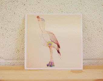Rollerskates and Walkman - bird print - digital print 6x6inches - collage - art print - illustration