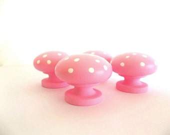 FOUR set Polka Dot Cabinet Knobs, Pink & White handles knob, Hand Painted Wood round dresser door drawer knobs, Nail covers, Furniture pulls