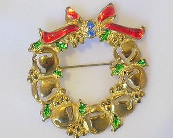 Bell Wreath Brooch Antique Vintage Unique Bell Pattern Very Old C Clasp Enamel on Gold Tone Metal Light Blue Rhinestones Red Bow Green Holly