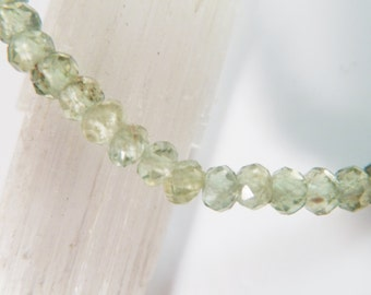 Green Apatite Stretch Bracelet 4mm Faceted Rondelle Bead Genuine High Quality Light Bright Apple Green Gemstone