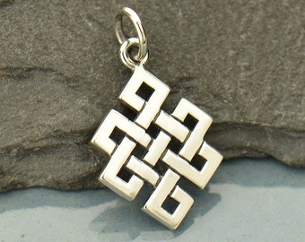 Sterling Silver Endless Buddhist Knot Charm