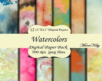 "Instant Download - Digital Scrapbook Pack - Watercolors - MK81 - 12 12""x12"" Digital Paper - Collage Sheets - Scrapbooking Paper"
