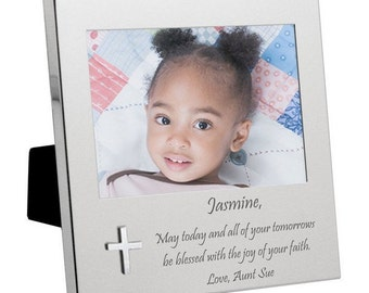 Engraved Silver Cross Photo Frame