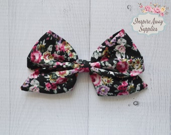New Black floral Sailor bow, Floral print bow, DIY hair bow, headband supply, wholesale bows, leather bows, fabric bows- for DIY no clip.