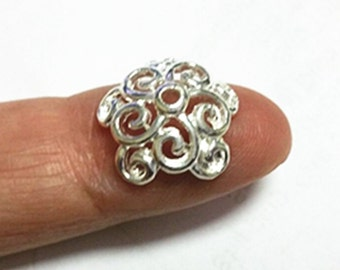 10pc 14mm bright silver finish lead nickel free bead cap-8583
