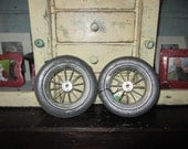 Pair of 2 Arnold Wire Spoke 7 Inch Black Rubber Wheels