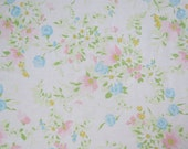 One Yard of Vintage Sheet Fabric - Muted Pink Floral - 1 yard
