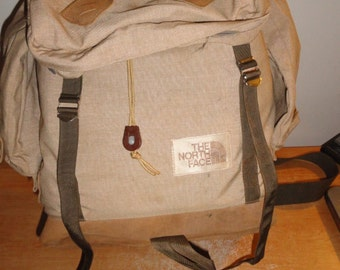 Vintage The North Face 1970s 80s Brown Label Hiking Camping Nylon & Leather Bag Pouch Rucksack Mountaineering Travel Bag