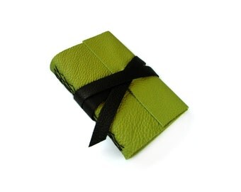 """Green Leather Journal or Sketchbook with black strap 4""""x6"""""""