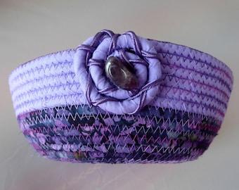 Medium Coiled Rope Basket - Purple Amethyst