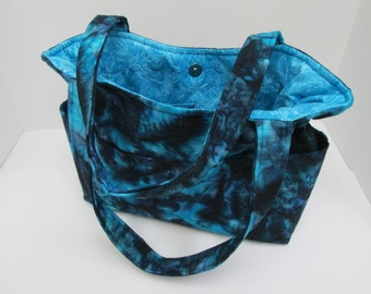 Batik Blue Adult Bag, Marble and Black Purse, Many Inside Pockets Bag, Quilted Cotton Purse,Tote Bag, Diaper Bag, Fabric Purse, Quilted Tote