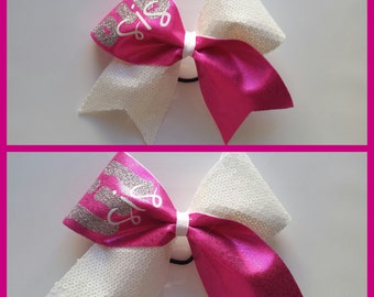 Pink and White Big and Lil Sis Cheer Bows