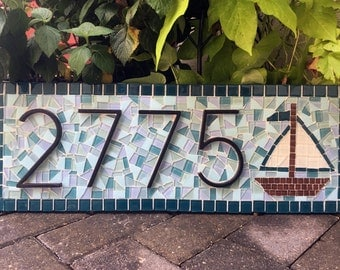 House Number Sign with Sailboat / Beach House Address Plaque / Mosaic House Numbers / Custom Address Sign