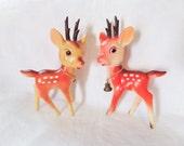 Vintage Plastic Deer Figure Japan Mid Century 2 Christmas Reindeer