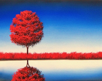Giclee Print of Red Tree Painting, Contemporary Art Print of Tree Art, Blue and Red Minimalist Wall Art, Modern Art American Landscape