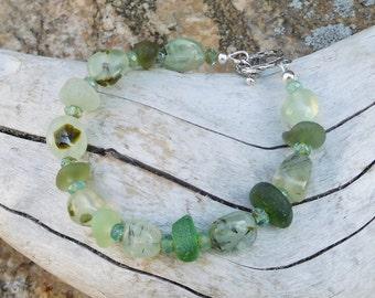 Sea glass bracelet - genuine.  Prehnite minerals.  Crystals.  Tidepool.  Salty.  Mermaids.  Ocean greens.
