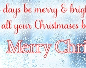 Merry Christmas -Facebook Timeline Cover Holiday Greetings For Your Personal Page -White Christmas Through Frozen Window -Instant Download